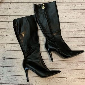 Black Leather Heeled Boots Pointed Toe sz 7